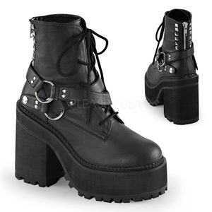 Gothic Platform Studded Lace Up Ankle Boots